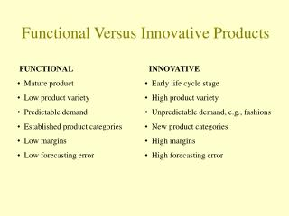 Functional Versus Innovative Products