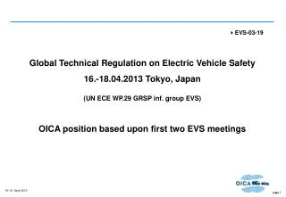Global Technical Regulation on Electric Vehicle Safety