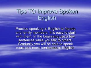 Tips TO Improve Spoken English