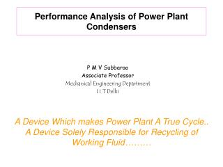 Performance Analysis of Power Plant Condensers