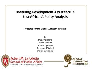 Brokering Development Assistance in East  Africa: A Policy Analysis