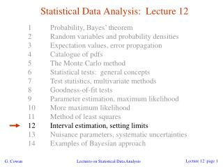 Statistical Data Analysis:  Lecture 12