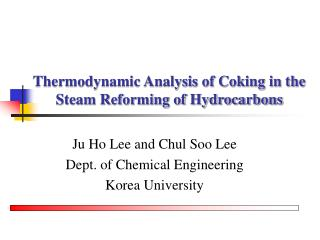 Thermodynamic Analysis of Coking in the Steam Reforming of Hydrocarbons
