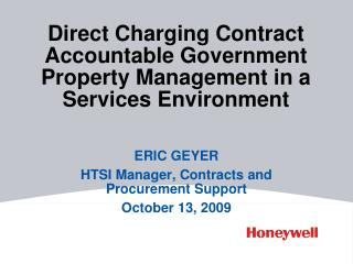 Direct Charging Contract Accountable Government Property Management in a  Services Environment