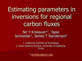 Estimating parameters in inversions for regional carbon fluxes