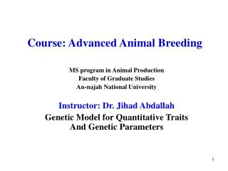 Course: Advanced Animal Breeding