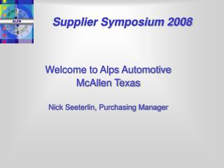 Supplier Symposium 2008