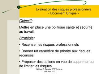 Evaluation des risques professionnels « Document Unique »