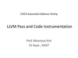 LLVM Pass and Code Instrumentation