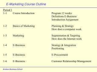 E-Marketing Course Outline
