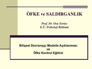 ÖFKE ve SALDIRGANLIK Prof. Dr. Oya Sorias E.Ü. Psikoloji Bölümü