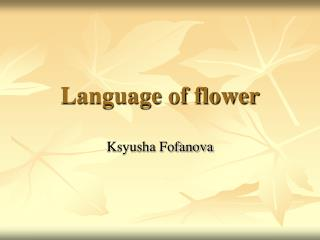 Language of flower