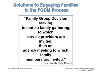 Solutions to Engaging Families  in the FGDM Process