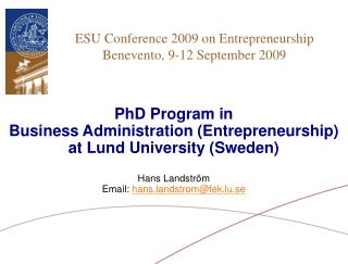 ESU Conference 2009 on Entrepreneurship Benevento, 9-12 September 2009