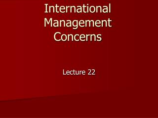 International Management Concerns