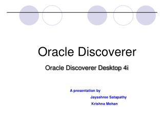 Oracle Discoverer Desktop 4i