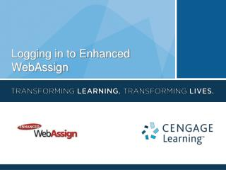 Logging in to Enhanced WebAssign