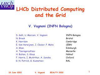 LHCb Distributed Computing and the Grid V. Vagnoni (INFN Bologna)