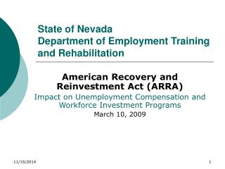 State of Nevada Department of Employment Training and Rehabilitation