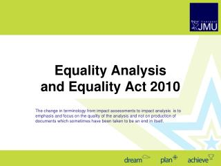 Equality  Analysis and Equality Act 2010