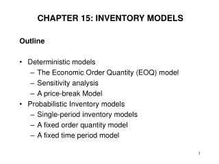 CHAPTER 15: INVENTORY MODELS