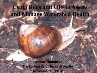 Using Bugs and GIS to Assess and Manage Watershed Health