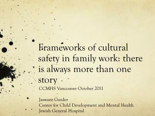 Frameworks of cultural safety in family work: there is always more than  one story