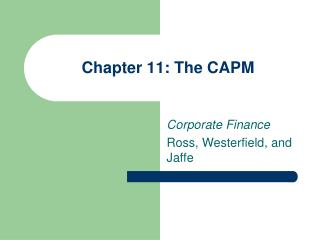 Chapter 11: The CAPM