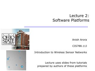 Lecture 2:  Software Platforms