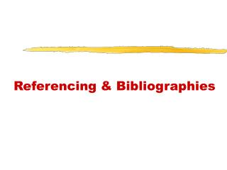 Referencing & Bibliographies