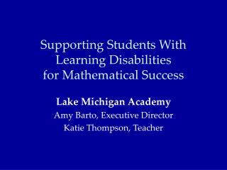 Supporting Students With Learning Disabilities for Mathematical Success