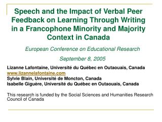 Speech and the Impact of Verbal Peer Feedback on Learning Through Writing in a Francophone Minority and Majority Context