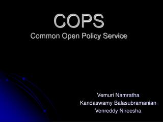 COPS Common Open Policy Service
