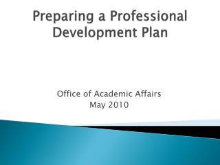 Preparing a Professional Development Plan