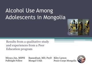 Alcohol Use Among Adolescents in Mongolia