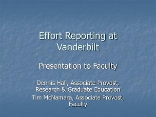 Effort Reporting at Vanderbilt