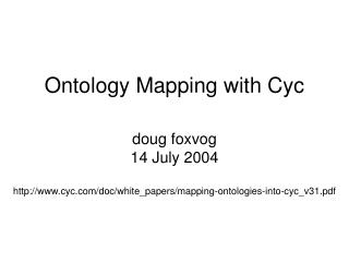 Ontology Mapping with Cyc