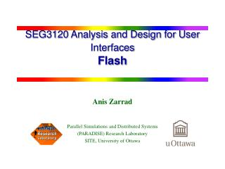 SEG3120 Analysis and Design for User Interfaces Flash