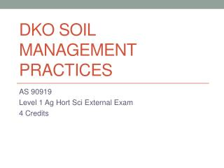 DKO Soil Management Practices