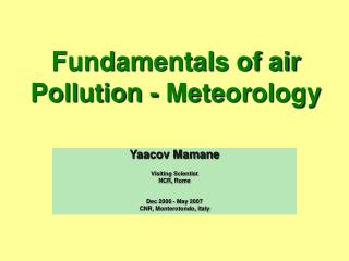 Fundamentals of air Pollution - Meteorology