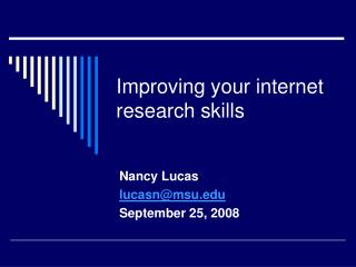 Improving your internet research skills