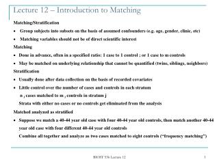 Lecture 12 – Introduction to Matching