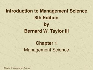 Introduction to Management Science 8th Edition by Bernard W. Taylor III