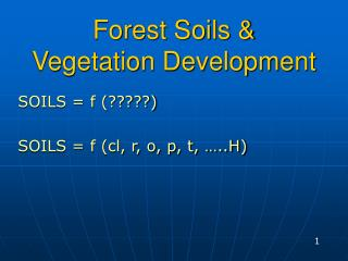Forest Soils &  Vegetation Development