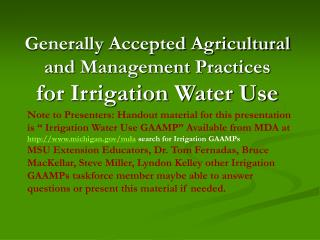 Generally Accepted Agricultural and Management Practices for Irrigation Water Use