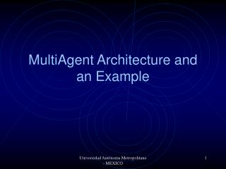 MultiAgent Architecture and an Example