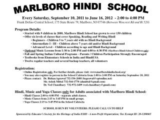 Every Saturday, September 10, 2011 to June 16, 2012  - 2:00 to 4:00 PM