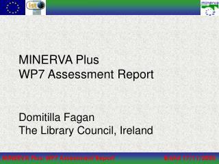 MINERVA Plus WP7 Assessment Report Domitilla Fagan The Library Council, Ireland