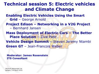 Technical session 5: Electric vehicles and Climate Change