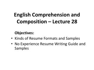 English Comprehension and Composition – Lecture 28